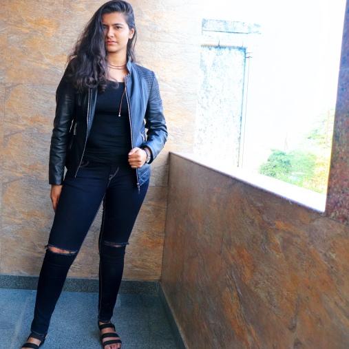 leather jacket all black stways